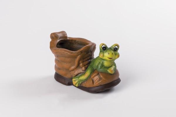 Blumentopf Keramik-Schuh mit Frosch