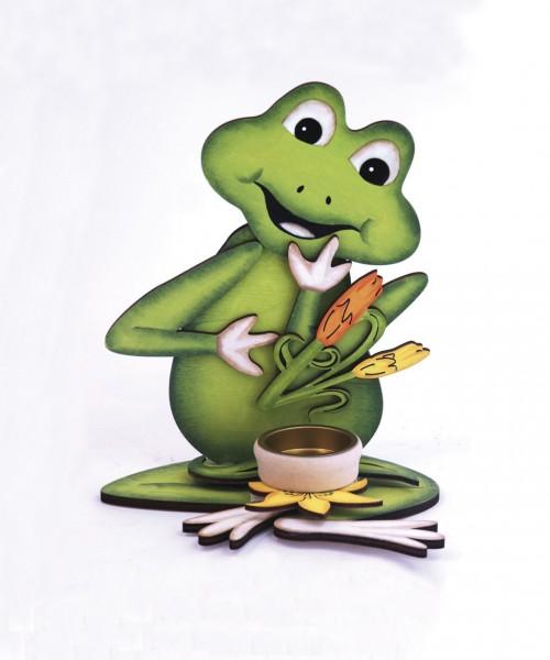 Teelichthalter aus Holz ''Frosch''