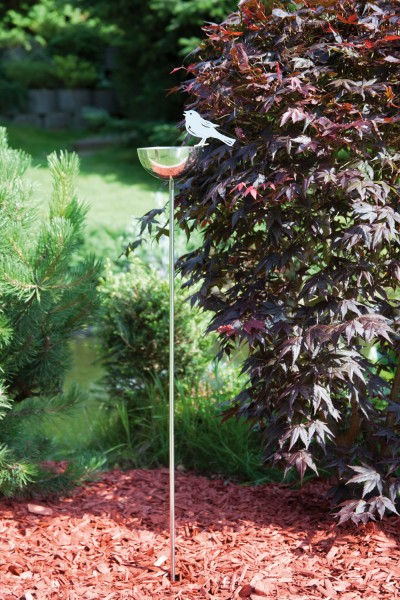 Gartenstecker ''Vogeltränke'' aus Edelstahl,